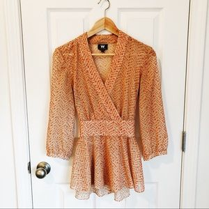 W by Worth Orange Spotted V-neck Tie Top Blouse